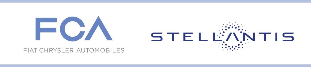 Fiat Chrysler Automobiles and Stellantis Logos.